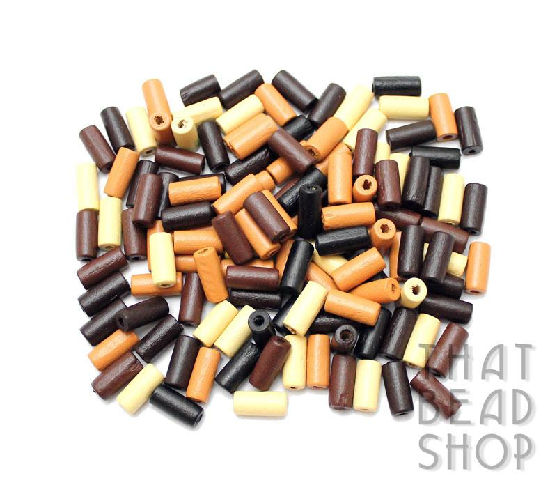 Natural Mix Tube Shaped Wood Beads